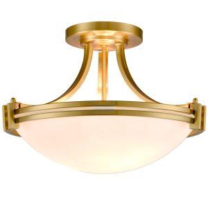 Brass Semi Flush Mount Ceiling Light 3-Light White Glass Shade