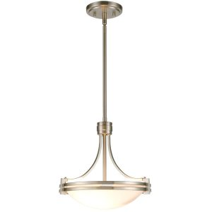Brushed Nickel Pendant Light 2-Light Elegant White Glass Shade