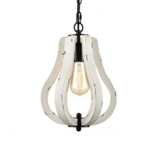 Farmhouse Vintage Wood Pendant Light Distressed White Swag Pendant