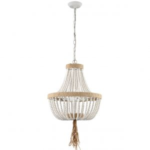 Farmhouse White Wood Beaded Chandeliers Large Dining Room Pendant Chandelier