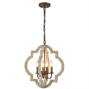 Farmhouse White Wood Chandeliers Orb Dining Room Pendant Chandelier