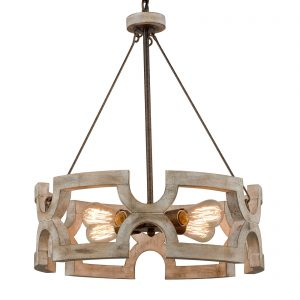 Farmhouse Wood Drum Chandeliers Dining Room Chandelier