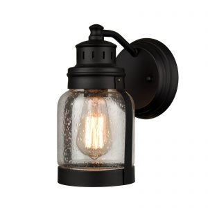 IndoorOutdoor Matte Black Wall Lantern Porch Sconce with Seeded Glass