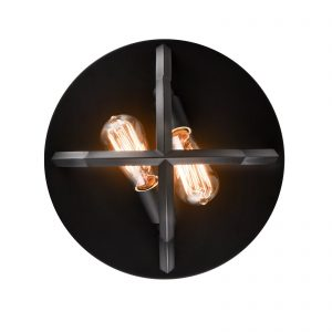 Industrial Matte Black Flush Mount Ceiling Light Metal Cage Dome Shape