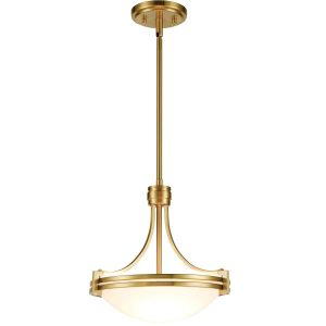 Modern Brass 2-Light Pendant Lighting Fixture Height Adjustable