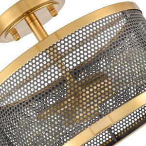 Modern Brass Drum Flush Mount Ceiling Light Metal Mesh Shade