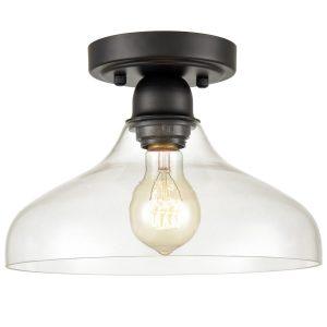 Modern Semi Flush Ceiling Lights Open Glass Fixture, Black