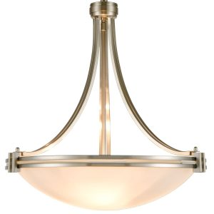 Sand Nickel Plating Pendant Light 3-Light Elegant White Glass