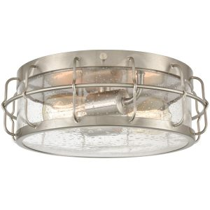 Seeded Glass Ceiling Light 2-Light Brushed Nickel Finished