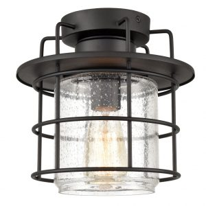 Vintage Outdoor Semi Flush Mount Ceiling Light Seeded Glass,Matte Black