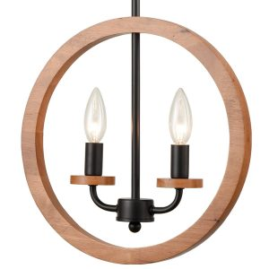 2-Light Farmhouse Chandelier Globe Wood Pendant Light