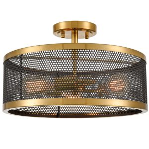 3-Light Ceiling Light Industrial Metal Drum Mesh Semi Flush Mount