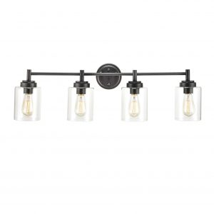 4-Light Bath Vanity Light Fixture Farmhouse Black Wall Sconces