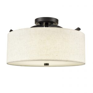 Black Semi Flush Mount Ceiling Light with Fabric Drum Shade