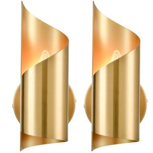 Brass Wall Sconces Sets of 2 Streamline Wall Light Lighting Fixture