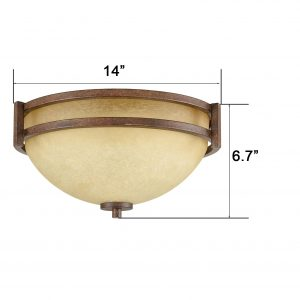 Famrhouse Flush Mount Ceiling Light 3-Light Scavo Glass Ceiling Fixture