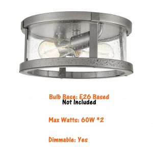 Farmhouse Drum Flush Mount Ceiling Light Seeded Glass Shade