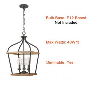 Farmhouse Lantern Cage Pendant 3-Light Wood Grain with Glass Shade