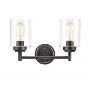 Farmhouse Wall Sconces Glass Wall Lights Black Finish-2 Lights
