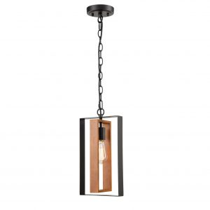 Farmhouse Wooden Pendant Chandelier Black Mini Pendant Light