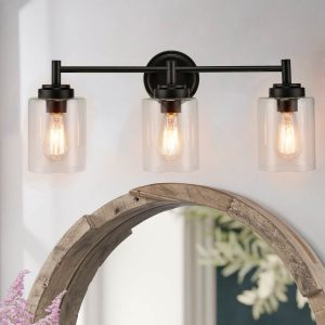 Industrial 3-Light Bathroom Vanity Light Black Wall Sconces