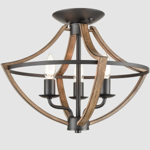 Industrial Ceiling Light Fixture Semi Flush Mount 3-Light