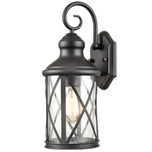 Lantern Wall Light Seeded Glass Shade Outdoor Light Fixture