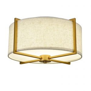Mid Century Fabric Drum Shade Gold Flush Mount Ceiling Light