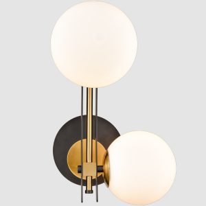 Mid-Century Wall Light 2-Light Opal Globe Glass Shade