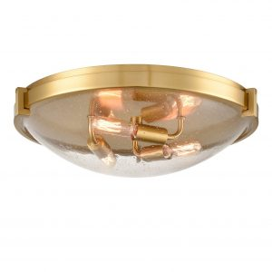Modern Brass Flush Mount Ceiling Light Seeded Glass Shade-3 Lights