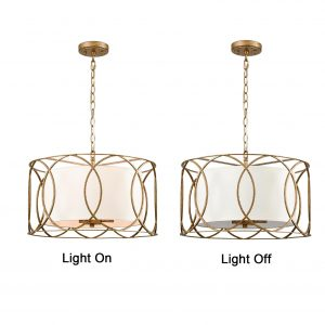 Modern Drum Chandelier Brass Fabric 3-Light Dining Room Pendant
