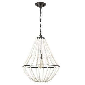 Rustic Wood Beaded Chandelier Distressed Off-White Finish