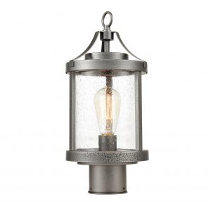 Vintage Outdoor Pole Light Seeded Glass Post Lantern Light Fixture