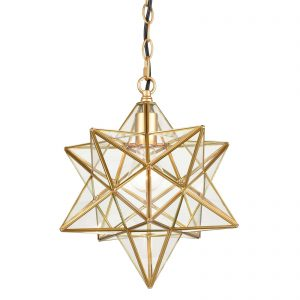 Brass Moravian Star Pendant Light 14-inch Clear Glass Shade
