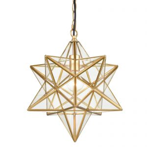 Brass Moravian Star Pendant Lights Clear Glass Shade, 15-Inch