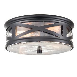 Farmhouse Flushmount Ceiling Light Black Drum Light Fixture Seeded Glass Shade