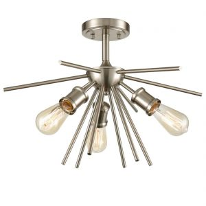 Mid Century Ceiling Light Sputnik Chandelier Fixture Brushed Nickel