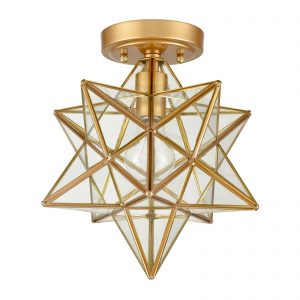 Modern Brass Moravian Star Ceiling Light with Clear Glass 12 Inches