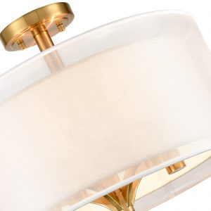 Modern Fabric Drum Flush Mount Ceiling Light Gold Finish