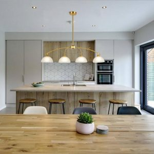 Modern Kitchen Island 4-Light Pendant Lighting,Brass Finish