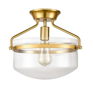 Modern Mid-Century Gold Clear Glass Ceiling Lights Brass