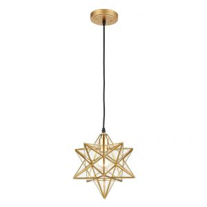 Modern Moravian Star Gold Finish Pendant Light Clear Glass