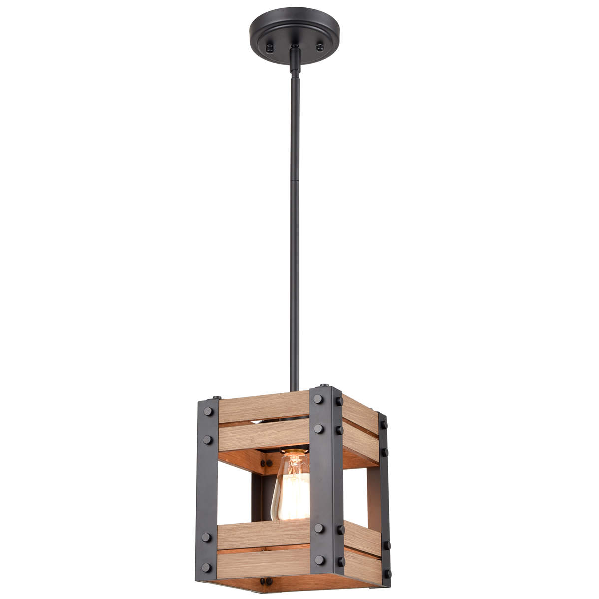 Rustic Rod-Hung Cage Wood kitchen Pendant Lighting, Black (4)