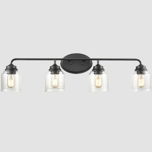 4-Light Wall Sconce Black Wall Light Fixture bathroom lighting fixtures