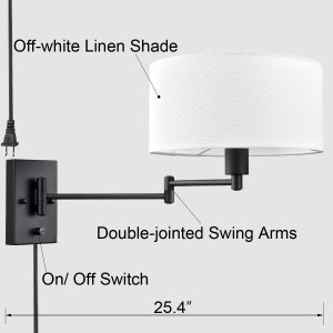 Beige Wall Sconces Plug-in Wall Lamp Swing Arm Wall Lights