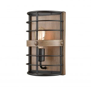 Farmhouse Metal Wall Sconce 1-Light Cage Wood Grain Wall Light