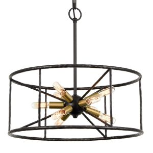 Industrial 9-Light Pendant Light Height Adjustable Chandelier Light