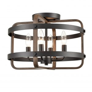 Industrial Black Semi Flush Ceiling Light Wood Grain Drum Light