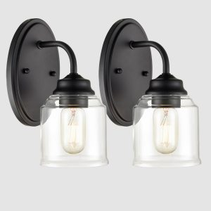 Modern Black Wall Sconces 2-Pack Bathroom Vanity Wall Light Fixture