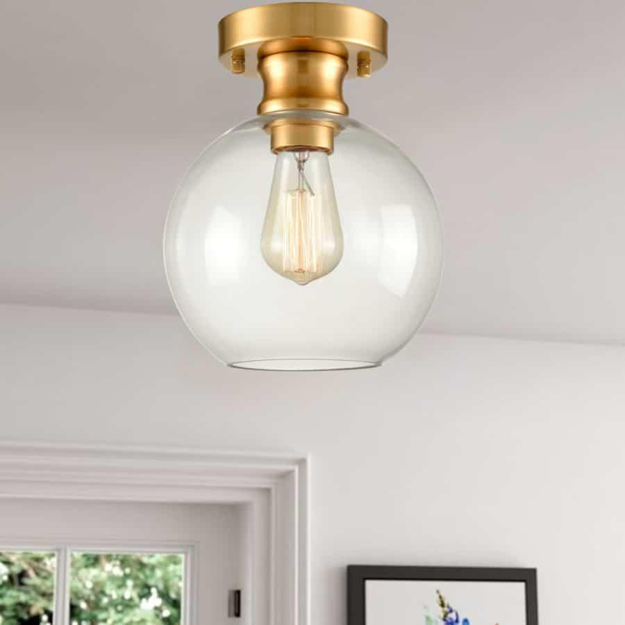 Modern Semi Flush Ceiling Light Globe Clear Glass Brass Fixture